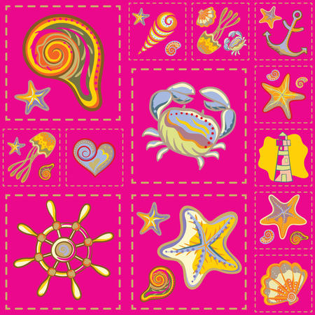 patchwork: Vector Colorful Marine Seamless Pattern. Sea Patchwork Illustration