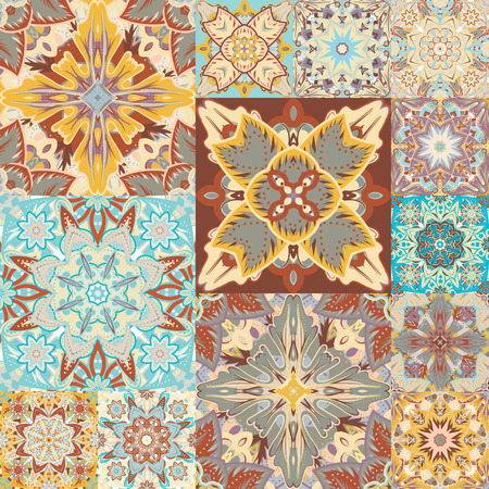 Seamless vector pattern. Patchwork. in arabic style. Abstract illustration Illustration