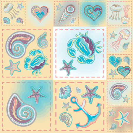 quilting: Vector patchwork nautical patterns.  Use to create quilting patches or seamless backgrounds for various craft projects.
