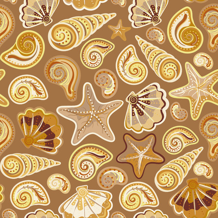 neon plant: Sea shells starfish seamless pattern in colorful on brown background. Vector sea backdrop. Illustration
