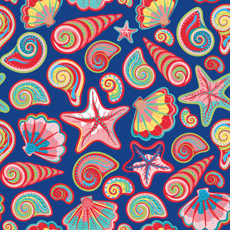 navy blue background: Sea shells starfish seamless pattern in colorful on navy blue background. Vector sea backdrop.