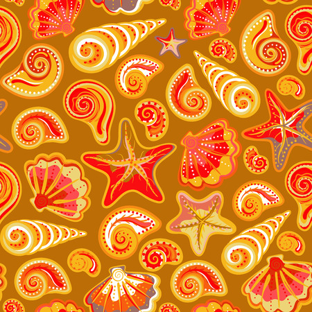 texture cloth: Seamless pattern with sea shells and starfish in colorful and glod background. Repeating print background texture. Cloth design. Wallpaper, wrapping