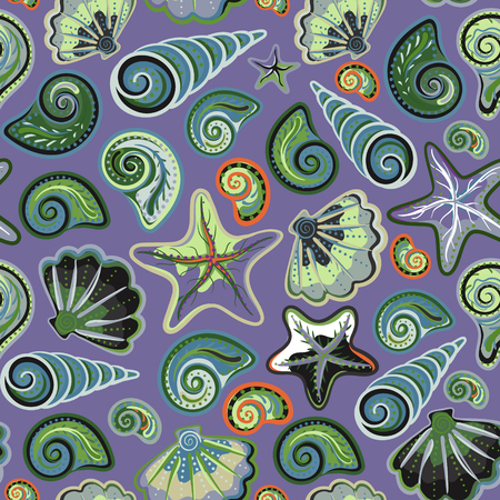 cephalopod: Seamless pattern with sea shells and starfish in colorful and dark lilac background. Repeating print background texture. Cloth design. Wallpaper, wrapping