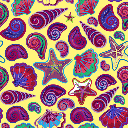 cockle: Graphic pattern with colorful seashells and starfish on yellow background. Hand drawing. Seamless for fabric design, gift wrapping paper and printing and web projects.