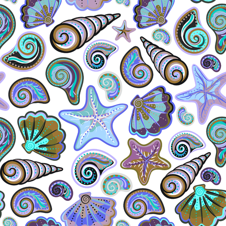 cockle: Graphic pattern with blue and lilac seashells and starfish on white background. Hand drawing. Seamless for fabric design, gift wrapping paper and printing and web projects.