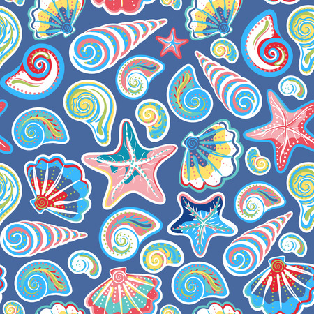 Seamless pattern with sea shells and starfish in colorful and blue background. Repeating print background texture. Cloth design. Wallpaper, wrapping Ilustrace