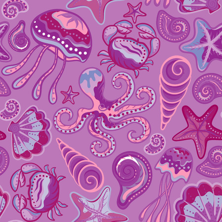 horse love horse kiss animal love: Vector seamless pattern of sea life, crabs, octopus, starfish, medusa, shells in bright colors. Beautiful seamless pattern. Vector backdrop. Use for wallpaper,pattern fills, web page background. Illustration