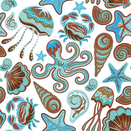 Vector seamless pattern of sea life, crabs, octopus, starfish, medusa, shells in bright colors. Beautiful seamless pattern. Vector backdrop. Use for wallpaper,pattern fills, web page background. Иллюстрация