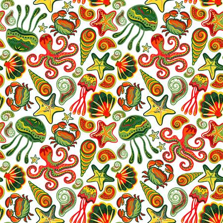 children s art: Seamless marine pattern. Sea octopus crab starfish shells. The underwater world. Vector illustration. Marine background. Children backdrop. Illustration