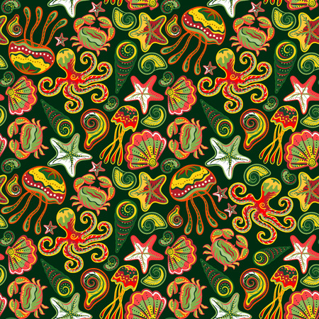 Seamless marine pattern. Sea octopus crab starfish shells. The underwater world. Vector illustration. Marine background. Children backdrop. 일러스트