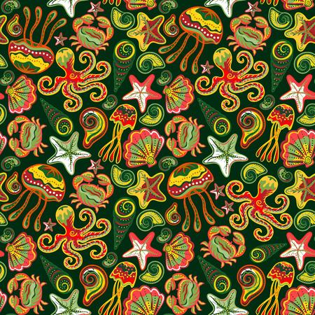 Seamless marine pattern. Sea octopus crab starfish shells. The underwater world. Vector illustration. Marine background. Children backdrop. Vettoriali