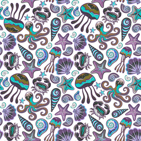 creatures: Seamless hand draw pattern with colorful sea creatures. Marine background with jellyfish shells octopus starfish crab. Illustration
