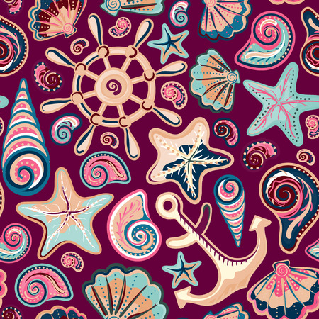 starfish: Nautical background, bright seamless pattern with sea shells, anchor, wheel, starfish on colorful backdrop