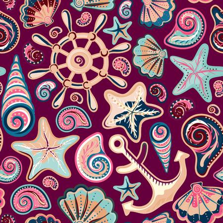 stella marina: sfondo di trasporto marittimo, seamless luminoso con conchiglie di mare, ancora, ruota, stelle marine su sfondo colorato Vettoriali