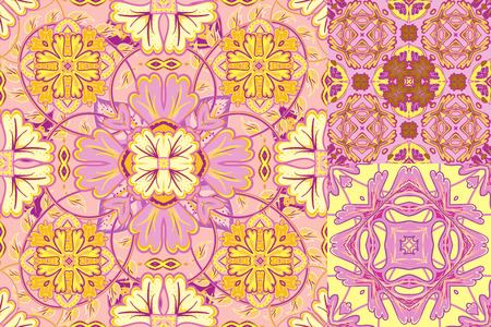ceramic tiles: Set with Beautiful delicate seamless ornamental tile background. Vector illustration.