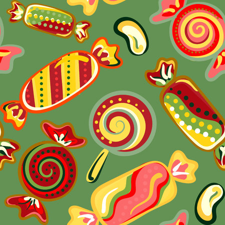 jellybean: Vector seamless hand draw background with colorful candies on a green background. Bright background with candies. Vector llustration