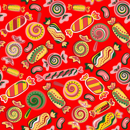 jellybean: Vector seamless hand draw background with colorful candies on a red background. Bright background with candies. Vector llustration Illustration