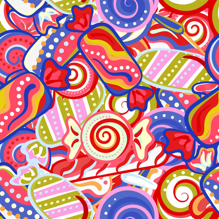 wrapping: Yummy colorful sweet lollipop candy cane seamless pattern. Vector illustration. Holidays background Illustration