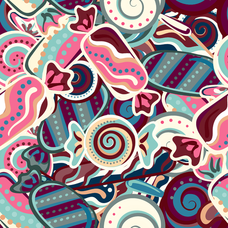 Colorful sweet candy vector seamless doodles pattern Vettoriali