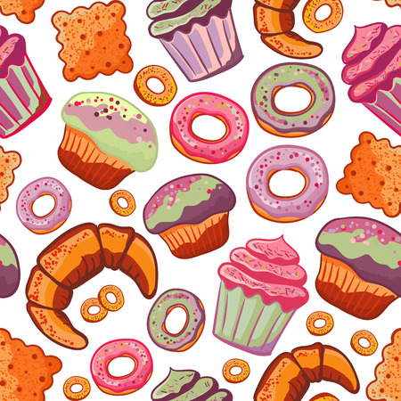 Vector food bakery seamless pattern with baked goods. Flour products from pastry shop. Illustration for print, web. Original design element