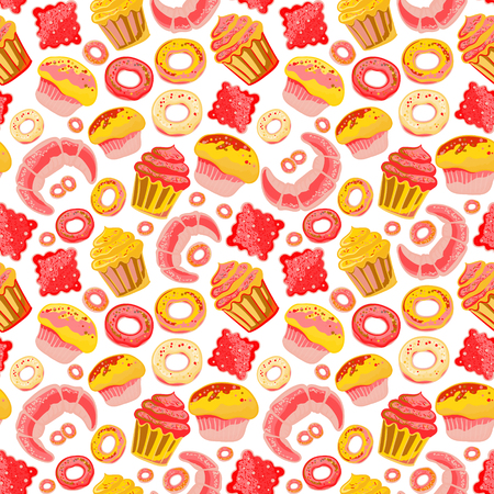 ice tea: Cute seamless pattern with sweets and desserts, cupcake, ice cream, teapot. Doodle style vector. Baked goods, restaurant menu and tea party background.