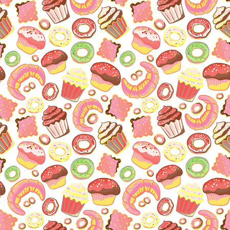 wholemeal: Seamless pattern with various pastries. Bakery products. Illustration
