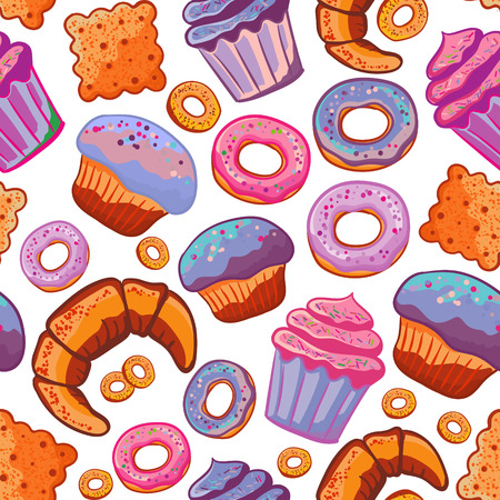 Seamless pattern with various pastries. Bakery products. Illustration