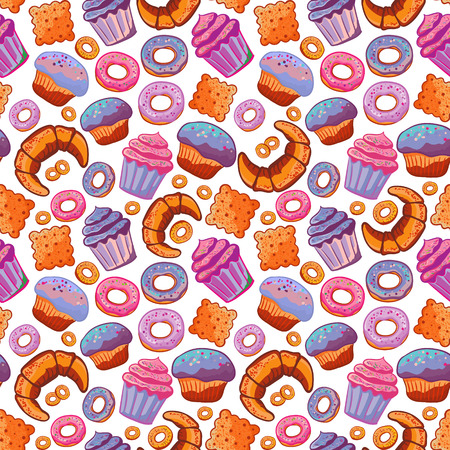 Seamless pattern with various pastries. Bakery products. Vettoriali