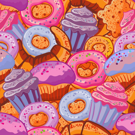 bagel: Pastry hand drawn seamless pattern. Doodle background collection confections. Icon set vector with donuts, cupcake, dessert, croissant, bagel Illustration