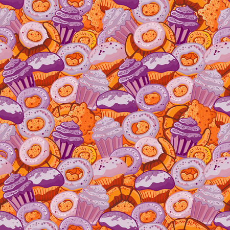 sprinkling: Vector seamless pattern with hand drawn pastries illustration isolated on white. Vintage bakery background.