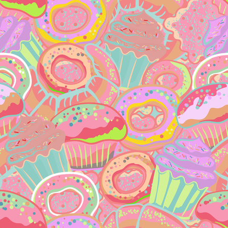 confections: Pastry hand drawn seamless pattern. Doodle collection confections. Colorful background with donuts, cupcake, dessert, croissant, bagel Illustration