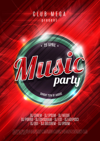 Party neon sign. Abstract background. Music party. Vector illustration.