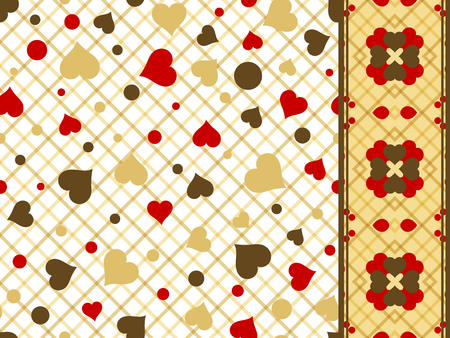 gold brown: Set of Seamless pattern with red gold brown hearts and border (band ribbon tape strip). Valentines Day vector background
