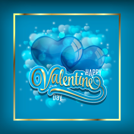 season s greeting: Vector background with two balloons hearts. Happy Valentines day. Perfect for invitations or announcements. Illustration