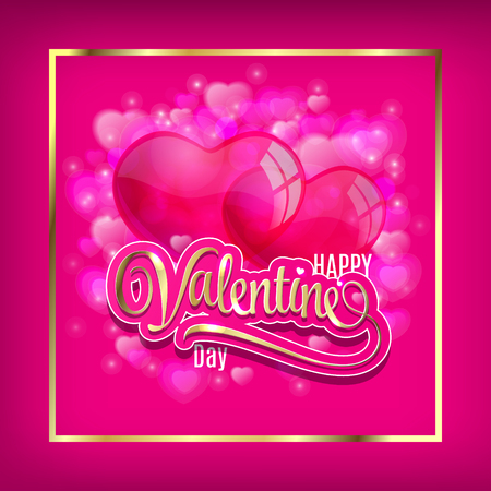 Vector background with two balloons hearts. Happy Valentines day. Perfect for invitations or announcements. Çizim