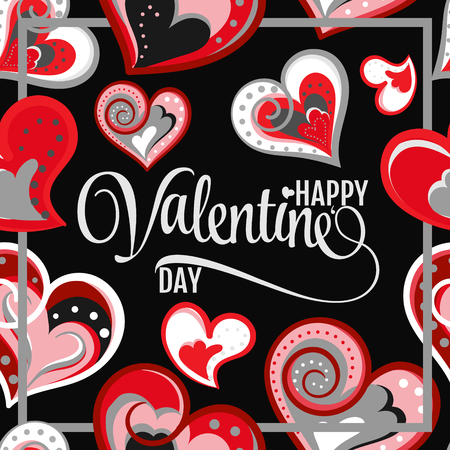 Vector Illustration Of Beautiful Hand Draw Hearts Background