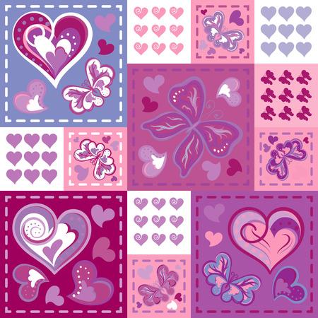 Romantique modèles sans couture dans le style patchwork. Vector hand dessin barrefly et coeurs fixés. modèles de dessins animés pour les papiers peints mignons