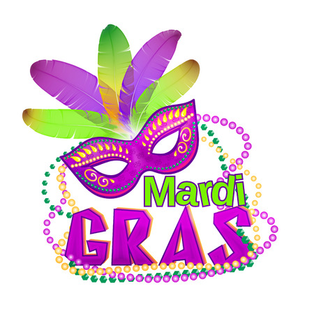 shrove: Vector illustration of Mardi Gras or Shrove Tuesday lettering label on white background. Holiday poster or placard template. Mardi Gras design element. EPS 10 vector, grouped for easy editing.