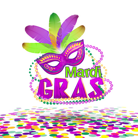 carnival costume: Vector illustration of Mardi Gras or Shrove Tuesday lettering label on white background. Holiday poster or placard template. Mardi Gras design element. EPS 10 vector, grouped for easy editing.