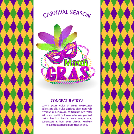Bright vector carnival icons and sign. Mardi Gras carnival background - Masquerade masks and beads