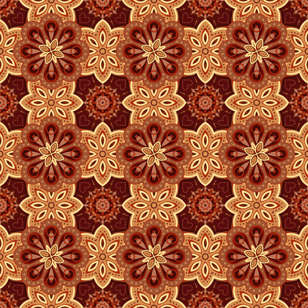 biege: Gorgeous seamless  pattern from biege and chocolate Moroccan, Portuguese  tiles, Azulejo, ornaments. Can be used for wallpaper, pattern fills, web page background,surface textures. Illustration