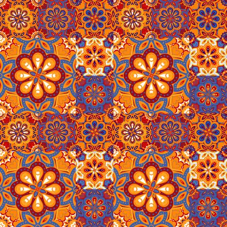 majolica: Seamless pattern on the tiles, majolica, arabic, blue, orange vector