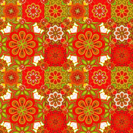 majolica: Seamless pattern on the tiles, majolica, arabic, red, green, orange, vector