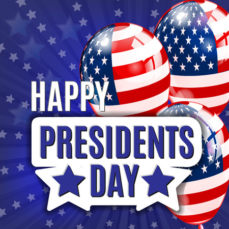 Happy Presidents Day. Presidents day illustration design with baloon with american flag. Vector background.