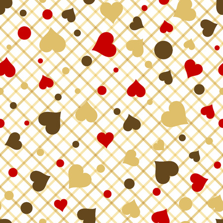 gold brown: Seamless pattern with red gold brown hearts. Valentines Day vector background