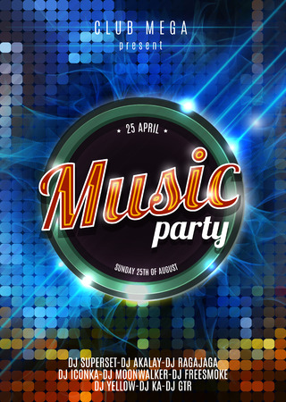 party night: Night Music Party Poster Blue Cold Background Template - Vector Illustration.