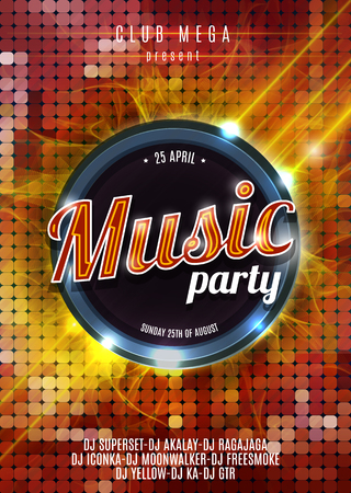 Night Music Party Poster  Hot Red Background Template - Vector Illustration. Illustration
