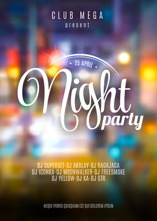 Vector flyer template for night party. Premium abstract background with bokeh defocused lights Çizim
