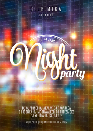 Vector flyer template for night party. Premium abstract background with bokeh defocused lights