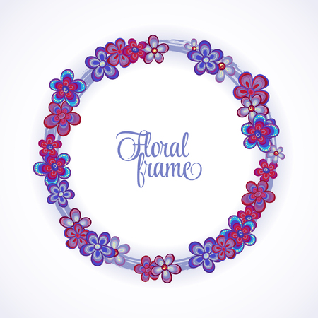 un: Floral Frame circle. Cute retro flowers arranged un a shape of the wreath perfect for wedding invitations and birthday cards Illustration